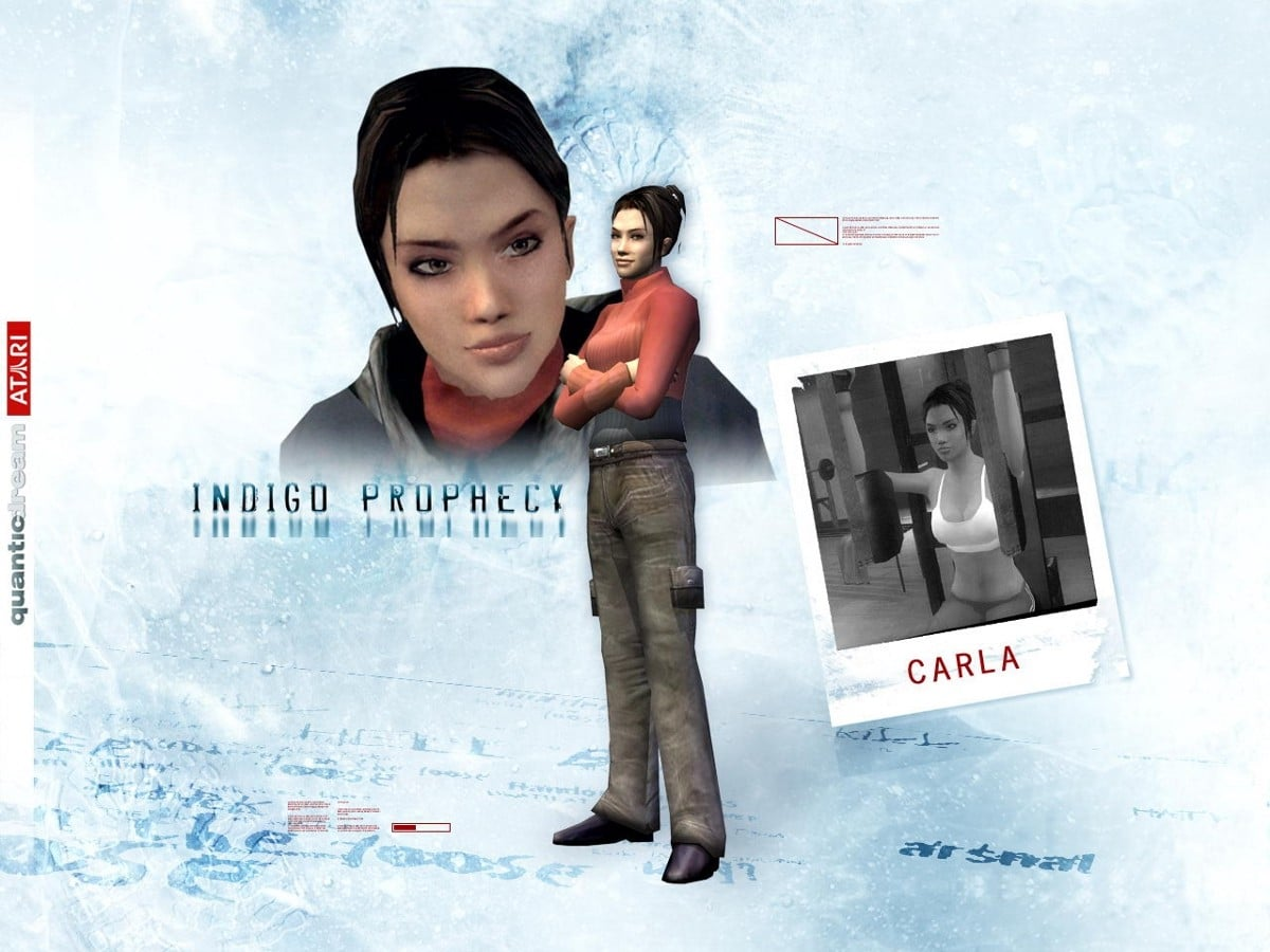 "Carla Valenti from the 2005 game ""Fahrenheit"" / ""Indigo Prophecy"" – who was ranked as the second sexiest ""video game girl"" by Revision3 in 2012 and as the 45th greatest heroine in video game history by Complex.com in 2013, among several other similar lists."